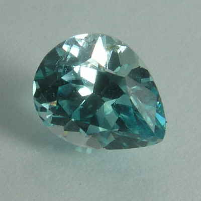 faceted blue pear zircon, cambodia